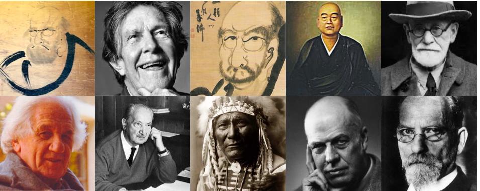 Bodhidharma, Cage, Hakuin, Dogen, Freud, Blitz, Heidegger, Jefe Seattle, Hopper, Husserl