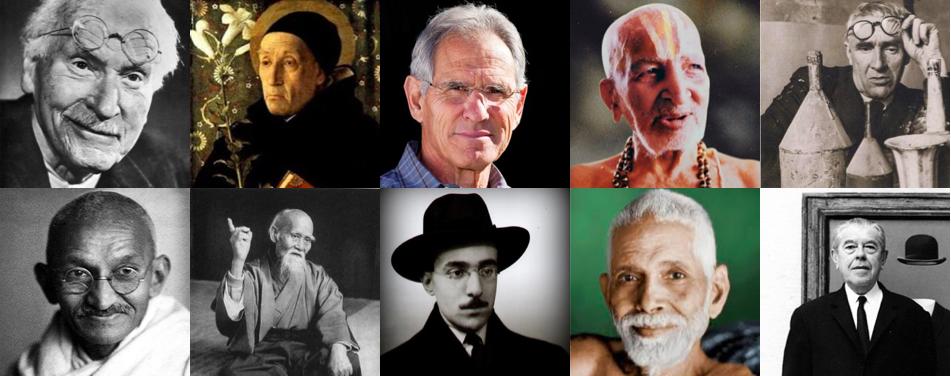Jung, M. Eckart, Kabat-Zinn, Krishnamacharya, Morandi, Gandhi, Ueshiba, Pessoa, Ramanamaharshi, Magritte